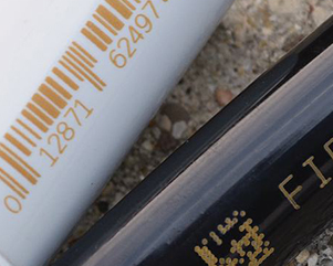 黄墨机在管材上打条码